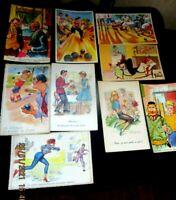 """lot de 9 cartes postales anciennes """""""" coquines et grivoises """"illustrateurs"""