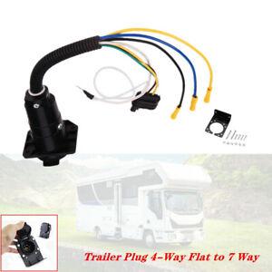 Trailer Plug 4-Way Flat to 7 Way Round RV Wiring Adapter Hitch W/ Bracket Kit