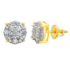 Aretes ICED Para Hombre Acabado De Oro 14k Con Diamantes Boton Plata 925 Solida