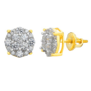 Real Solid 925 Silver Iced CZ Hip Hop Mens Earrings Round Studs 14k Gold Finish