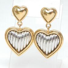 DROP DANGLE SILVER/GOLD DOUBLE HEARTS RETRO PIERCED POST EARRINGS