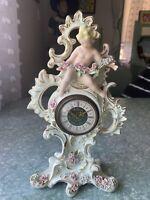 VINTAGE PORCELAIN  LOVELY ANGEL DRESDEN MERCEDES W.GERMANY MANTLE CLOCK