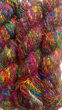 1000Grams. Recycled Pure Soft Sari Silk Kint Yarn Woven Crochet 10 Skein
