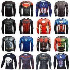 Men's Superman Long Sleeve Crewneck Compression Super Heroes T-shirt 3D Tee Tops