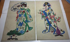Beautiful pair of Asian Geisha Women painted on cotton backdrop