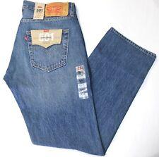 Men Levi's 501 Medium Blue Stuffed Up Stretch Straight Leg Button Fly Jeans-2585