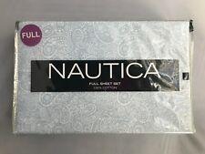 New Nautica 4 Piece Printed Full Sheet Set 2 Pillow Cases Flat Sheet Fit Sheet