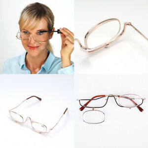 Magnifying Makeup Reading Glasses Folding Flip Down Cosmetic Spectacles +1.5-4.0
