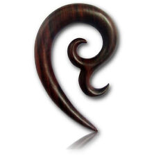 PAIR OF 6G (4MM) SONO WOOD TRIBAL SPIRALS STRETCHER TALON PLUGS EAR PLUG HANGER