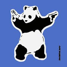 "BANKSY PANDA WITH GUNS Urban Art, Blue- 24""x24"" Canvas"