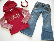 Baby Gap Copper Mountain jeans pants red LOGO hoodie top shirt headband 5 5T