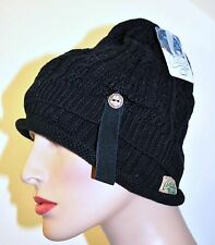 NWT Chaos Green womens Winter Knit hat Black Urban Modern 2 layer O/S Free Ship