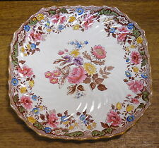 Copeland Spode Square Luncheon Plate - British Flowers 2/9035 - 9""