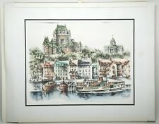 """Three Original Drawings """"Quebec Landscapes"""" 11x14"""" Signed By Artist. Paper Frame"""