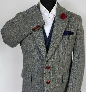 Harris Tweed Blazer Jacket Blue Grey 42S SUPERB RARE COLOUR X230