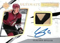 2017-18 -U.D. ULTIMATE  ROOKIE - CLAYTON KELLER   R.C. PATCH ,AUTO  #/49 COYOTES