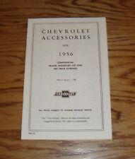 1956 Chevrolet Car & Truck Accessories Price List Brochure 56 Chevy