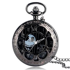 Vintage Jack Skellington The Nightmare Before Christmas Pocket Watch Chain Gift