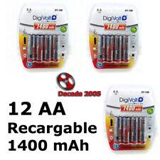 12 Pilas AA 1400 mAh Baterías Recargables 1.2v Bateria Pilas NH AA NiMh battery