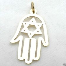 New 14k yellow HAMSA hand pendant Star of David Judaica Made in Israel