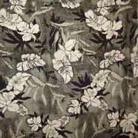 Aloha Hawaiian Shirt Hibiscus Flowers Leaves Size M Gray Black Axcess Men