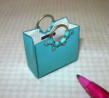 Miniature Detailed Designer-Style Purse Tote Handbag, Turquoise: DOLLHOUSE 1/12