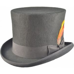 Top Hat Black Victorian Topper Tall Unisex Supreme Quality Felt -iHatsLondon UK