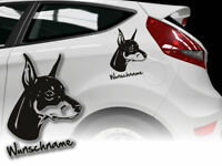 Aufkleber Doberman Pinscher  H152 Hundeaufkleber Wunschname Auto