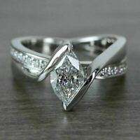 Engagement Wedding Ring Certified 2.8 CT Marquise Diamond 14K White Gold