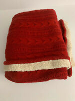 Pottery Barn Cozy Cable Knit Throw Blanket  50x60 Cardinal Red Faux Sheepskin