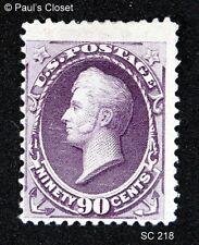 1888 US #218 90¢ PURPLE PERRY FRESH VIVID CLR MH REMNANT OG F/VF, CROWE CERT