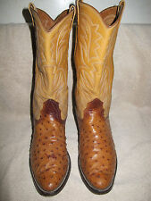 Nocona vintage cowboy boots mens 10.5 D 10 1/2 full quill ostrich riding rodeo