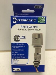"INTERMATIC K4221C Photo Control Stem & Swivel Mount 120VAC, 1/2""-14 Thread"