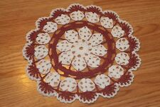 New Hand Crocheted Doily - white, dusty rose