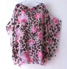 NEW~Coral Pink Rose Taupe Peasant Blouse Shirt Vacation Boho Plus Top~18/20/1X