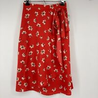 New Stitch Fix Le Lis Skirt Alanna Faux Wrap Midi Red Floral Size Small