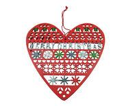 Gisela Graham Christmas Decoration - Merry Christmas Heart - Vintage Fretwork