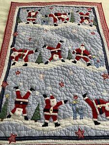 Pottery Barn Santa Claus Doing Cartwheels Christmas Quilt 36x48 Lap #29