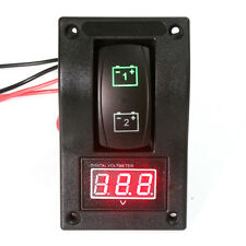 12V RV Marine Boat Voltmeter LED Dual Battery Test Panel Rocker Switch ON-OFF-ON