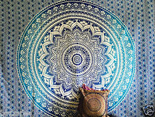 Large Indian Ombre Mandala Tapestry Hippie Wall Hanging Bedspread Blanket Throw Blue WMT 100 Cotton