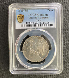 Chile 1910-So Peso PCGS Gen Cleaned AU Detail &*No Reserve!