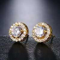 18K GOLD FILLED STUD EARRINGS MADE WITH  SWAROVSKI CRYSTALS ELEGANT.GIFT RG9
