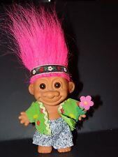 "Troll Doll 4 1/2"" Russ Flower Power Hippie Pink Hair"