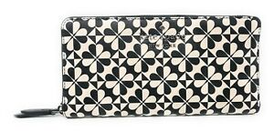 NWT Kate Spade NY Holie Spade Clover GEO Large Continental Wallet in Black Multi