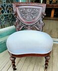 VICTORIAN HORNER STYLE FIGURAL CARVED MAHOGANY GRIFFIN SIDE CHAIR