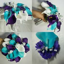 Turquoise Purple Ivory Calla Lily Bridal Wedding Bouquet & Boutonniere