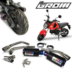 BLACK DUAL LOW OUT EXHAUST PIPE MUFFLER LOWER FIT HONDA NEW GROM MSX125 SF 2020
