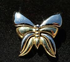 LIZ CLAIBORNE signed Butterfly shiny silver gold tone BROOCH