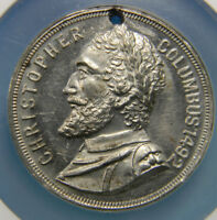 1893 Christopher Columbus Memorial  Worlds Colombian Expo Medal NGC MS 62