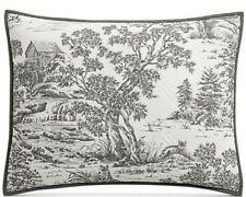 Martha Stewart Collection Fox Toile Cotton Quilted Pillow Sham Standard Gray